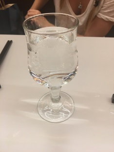 even water is served in pretty glasses