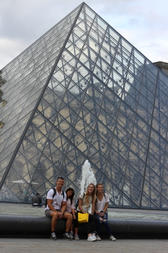 The famous pyramids in front of the Louvre